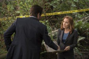Als im Wald eine Leiche gefunden wird, werden Mulder (David Duchovny, l.) und Scully (Gillian Anderson, r.) hinzugezogen, nachdem zwei Junkies behauptet haben, ein echsenartiges Monster gesehen zu haben ... © 2016 Fox