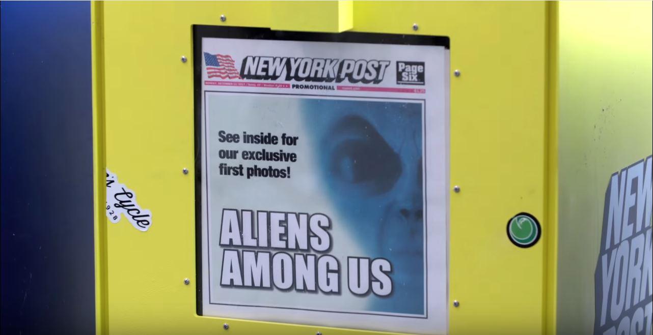 Titelseite der New York Post als Promo für Akte X. Screenshot: youtube.com/FoxBroadcasting