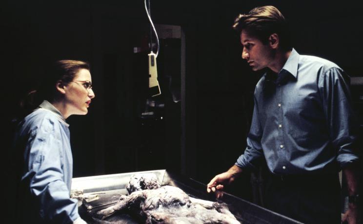 Die studierte Medizinerin Scully (Gillian Anderson, l.) glaubt nur an wissenschaftliche Beweise. Mulder (David Duchovny, r.) aber ist der festen Überzeugung, dass die vier vor ihrem Tod von Außerirdischen entführt wurden. © 1993 Twentieth Century Fox Film Corporation. All rights reserved.